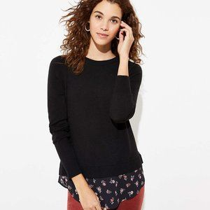 NWT LOFT BOUQUET TIE BACK MIXED MEDIA LUXE SWEATER